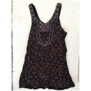 Free People Beaded Floral Boho Festival Shirt Top